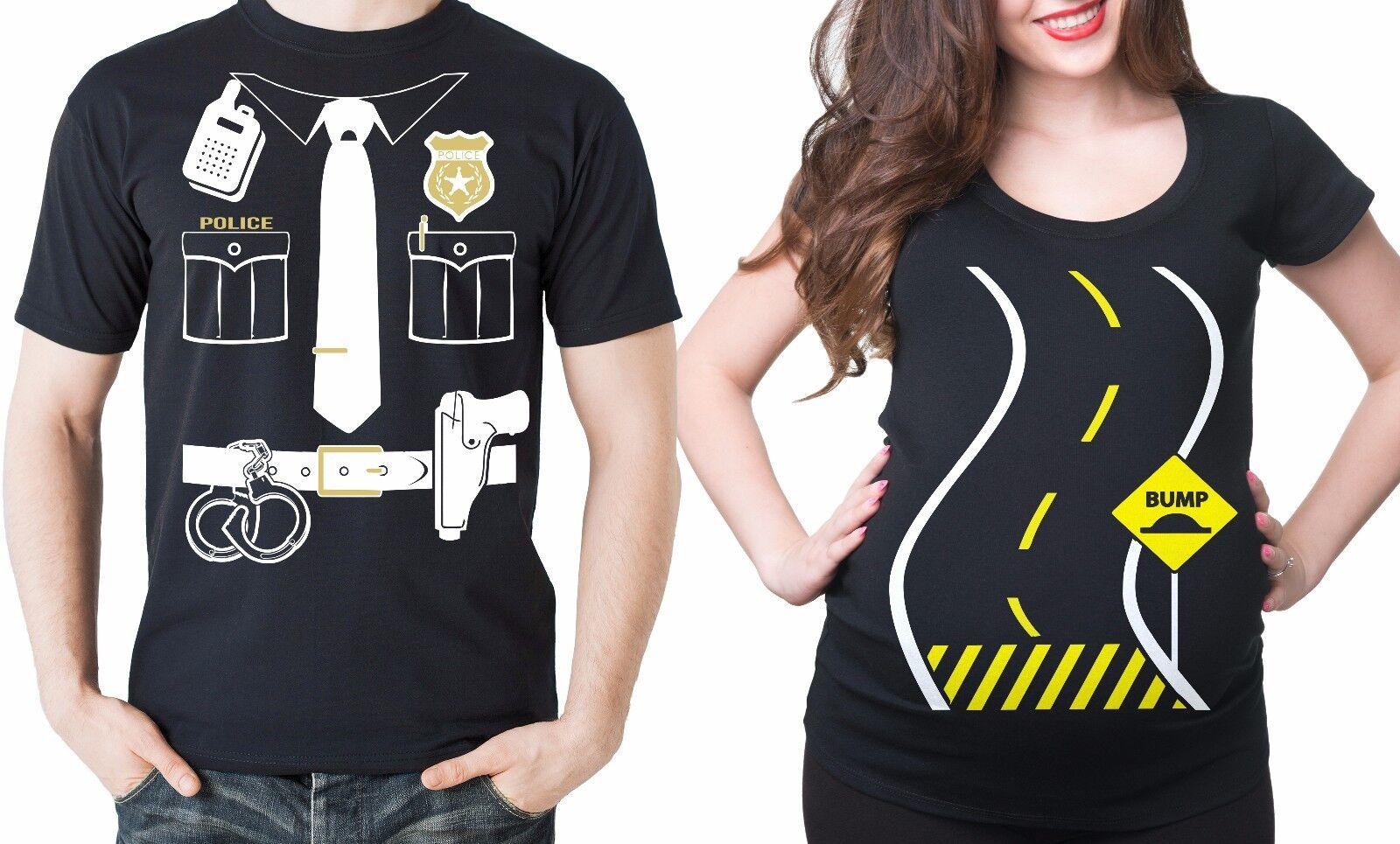 Bump Maternity T-shirt Police Officer Tee Shirt Halloween Costume Pregnancy Bump