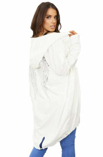 Ladies Women/'s Free Soul Sequin Angel Wings Longline Hooded Cardigan Jacket UK