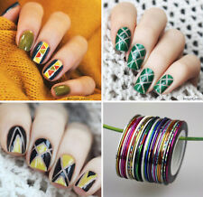 30Rolls Nail Art Striping Tape Line Nail Stickers DIY Kit UV Gel Tips Decoration