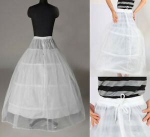 3-Hoop-2-Layer-Petticoat-Crinoline-Underskirt-Bridal-Wedding-Dress-Gown-White