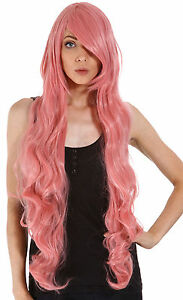 Image is loading 100cm-Long-Women-039-s-Pink-Curly-Wavy-  sc 1 st  eBay & 100cm Long Womenu0027s Pink Curly Wavy Full Hair Wig Cosplay Halloween ...