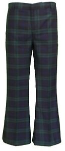 Mens-60s-70s-Retro-Checked-Blackwatch-Tartan-Bell-Bottom-Trousers