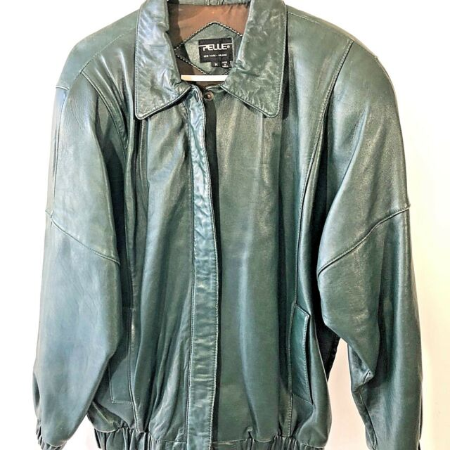 Pelle Genuine Green Lined Leather Jacket Coat Womens Medium