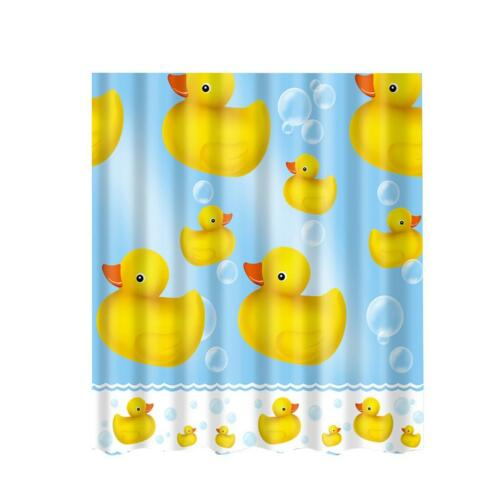 Extra Long Fabric Bath Shower Curtain including 12 Hooks Bathroom Use Ducks