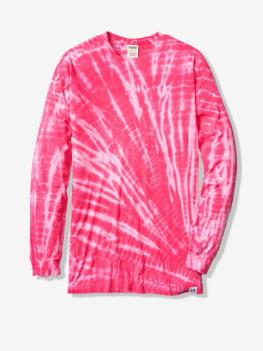 New Victorias Secret PINK Cotton Long Sleeve Campus Tie Dye Tee S M L T-shirt