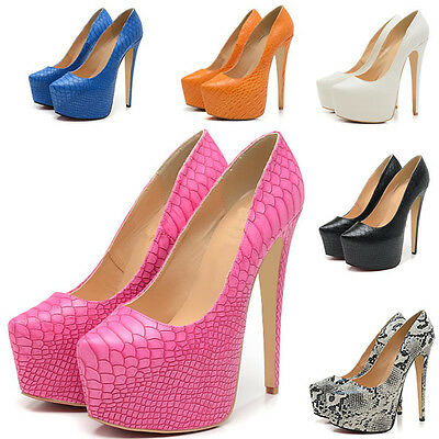 WOMENS PARTY PLATFORM PUMPS KILLER HIGH HEELS STILETTO  SHOES SNAKA SKIN UK2-9