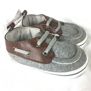 NEW Carter's Baby Shoes Boys 6-9 Months Gray Brown Cloth Leather Top NWT