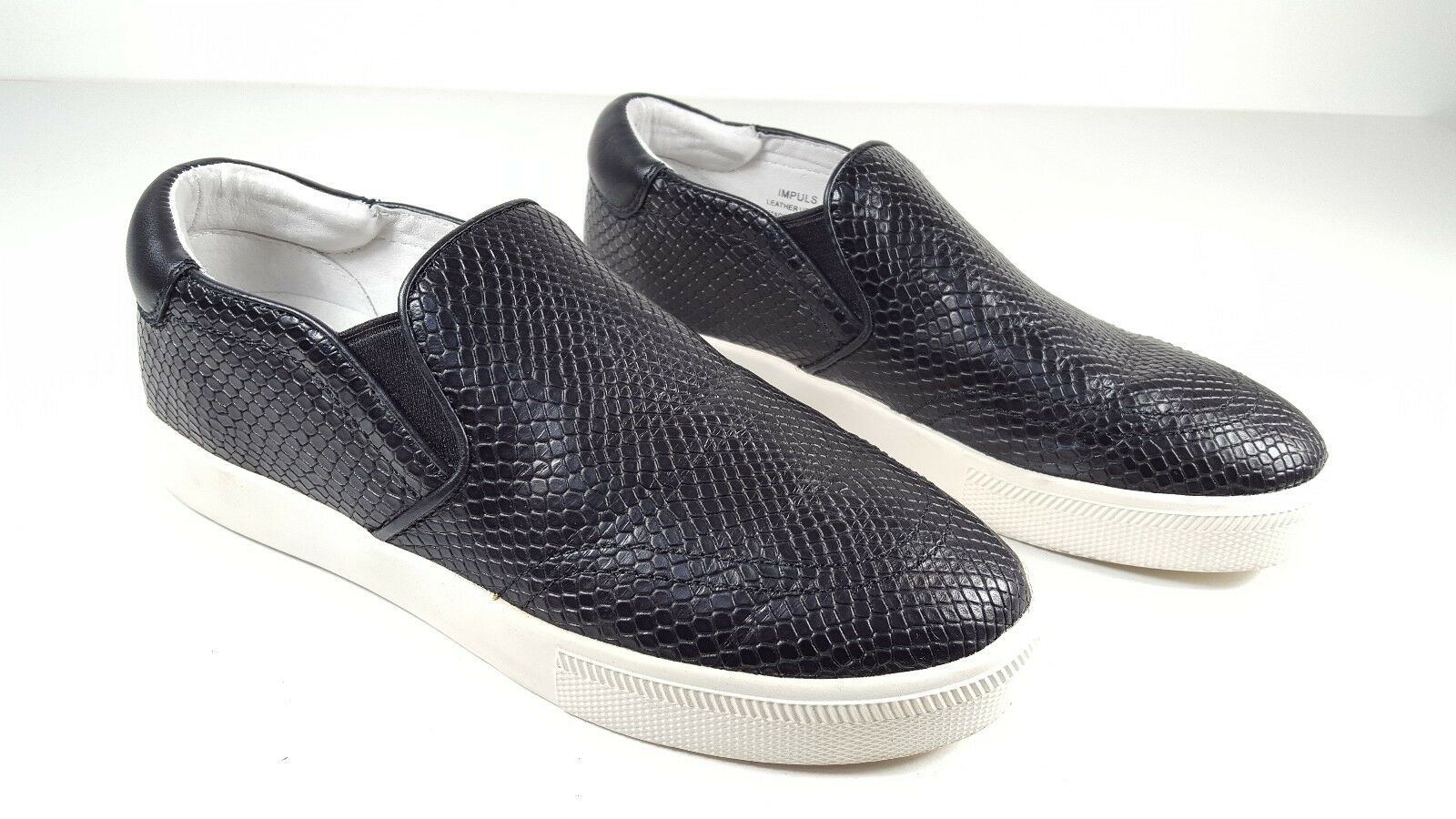 200 size 40 US 9 Ash Impuls Black Genuine Leather Sneakers Slip On Womens shoes