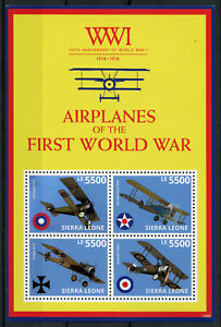 Sierra-Leone-2014-MNH-WWI-100th-First-World-War-Airplanes-4v-M-S-Fokker-Stamps