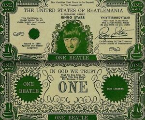 Beatles-1964-Vintage-Money-Ringo-Starr-One-Beatle-Dollar-Bill-NM-COA
