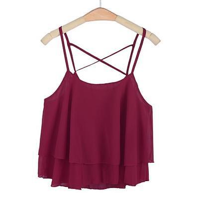 Summer Womens Loose Sleeveless Chiffon Crop Casual Tank Tops Strappy Vest Shirt