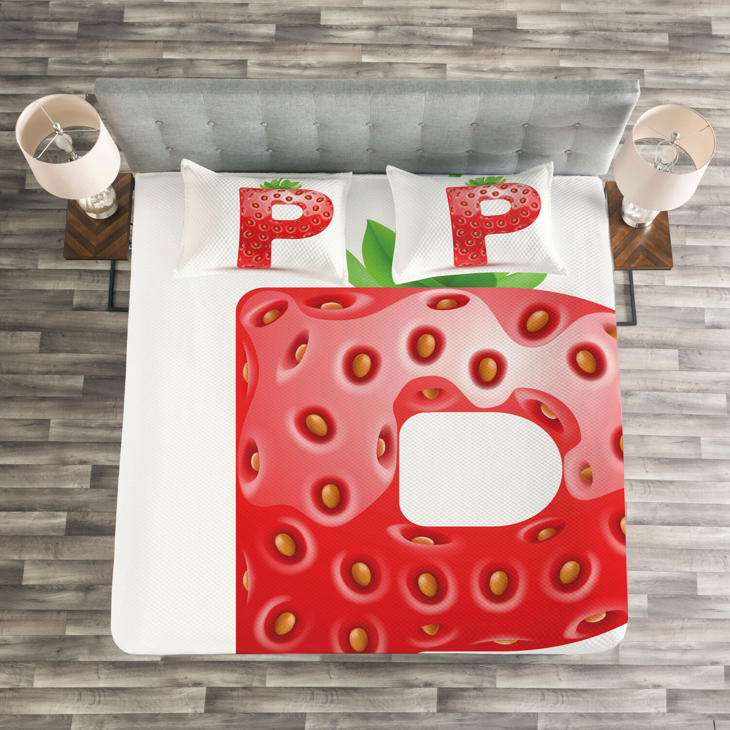 Letter P Quilted Bedspread & Pillow Shams Set, Healthy Eating Capital Print