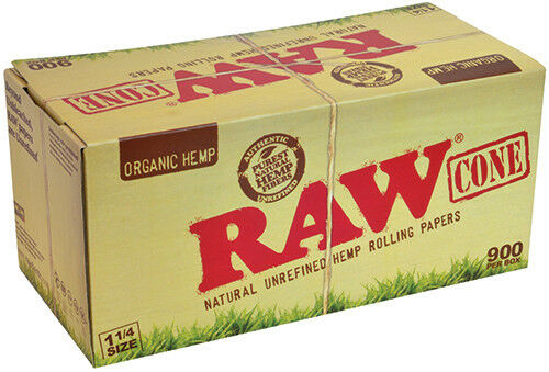 128 Pack of 1 1//4 Size Organic Hemp Cone Rolling Papers by Raw Rolling Papers