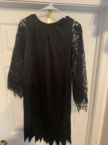Spider Webs Witch Costume Black Dress Child Size L