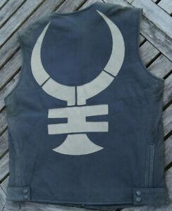 DIESEL-Mens-Leather-sleeveless-unique-Jacket-20373-size-L-black-anthracite-rare