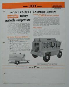 JOY-Rotary-Portable-Compressor-RP-250G-1960-dealer-sheet-brochure-English-USA