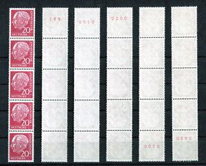1-x-Bund-185-y-R-postfrisch-5er-Streifen-Heuss-Lumogen-mit-roter-Zaehlnummer-MNH