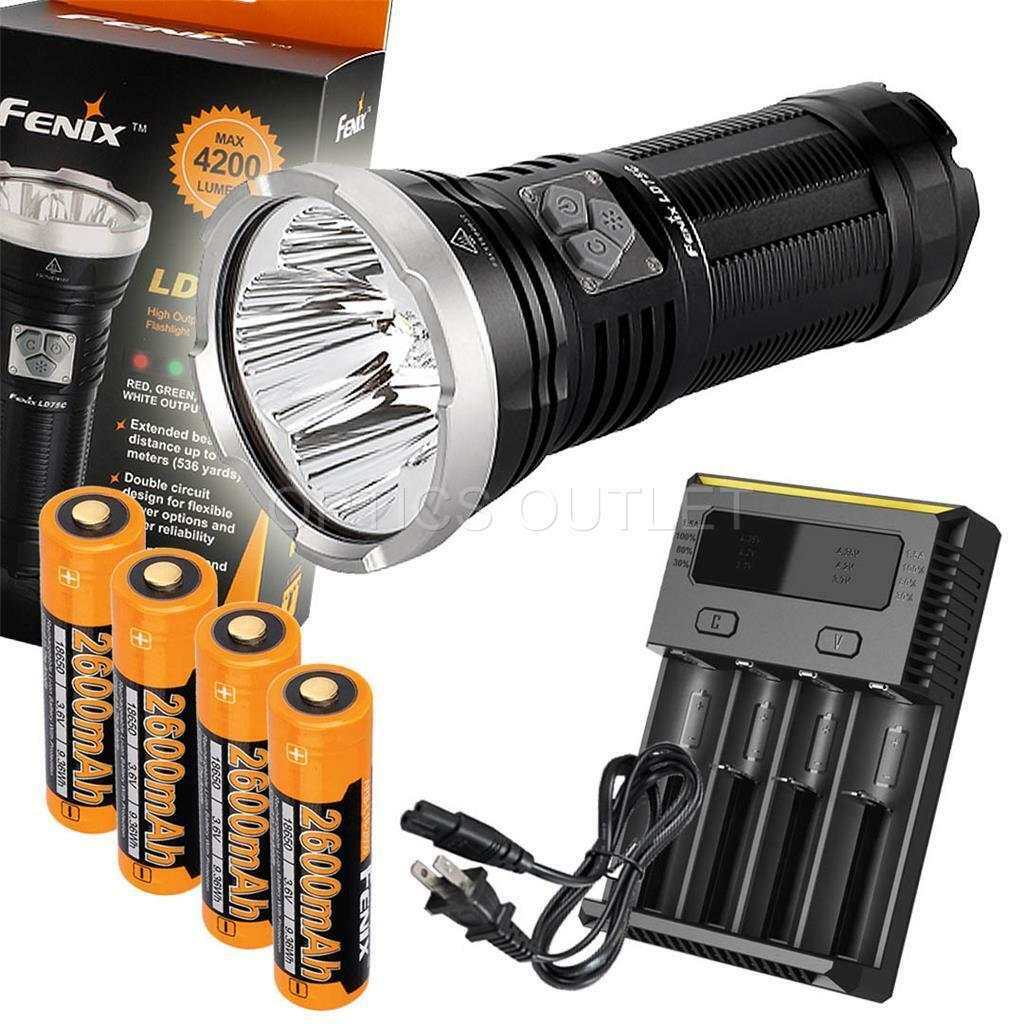Fenix LD75C 4200 Lumen MultiColoree Rechargeable LED Flashlight w 18650 &Charger
