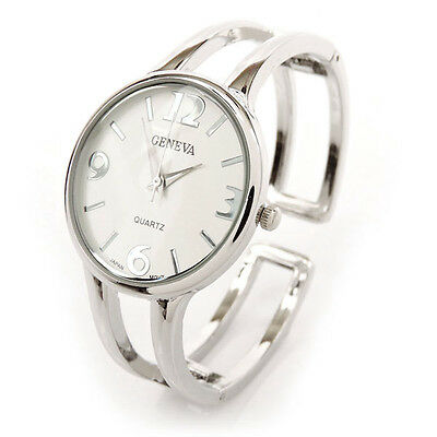 New Geneva Silver Metal Double Band Fashion Women's Bangle Cuff Watch