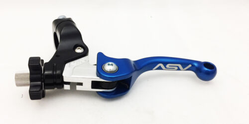 ASV Unbreakable F3 Shorty Blue Adjustable Folding Clutch Lever Universal ATV