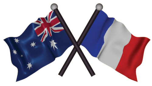 DECAL AUSTRALIA FRANCE SIZE 80MM BY 40MM apr GLOSS LAMINATED
