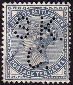 STRAITS-SETTLEMENTS-1882-Isc-52-10c-wmk-Crown-CA-PERFIN-USED-P775