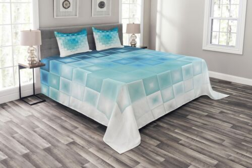 Fractal Square Shapes Print Abstract Quilted Bedspread /& Pillow Shams Set