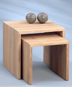 2 satz beistelltisch massivholz eiche bianco tisch nachttisch couchtisch ebay. Black Bedroom Furniture Sets. Home Design Ideas