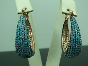 Turkish-Handmade-Jewelry-925-Sterling-Silver-Turquoise-Stone-Ladies-039-Earrings