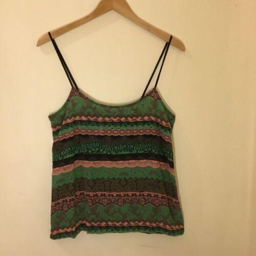 Emma Cook Green Pink Black Silk Camisole Camisole