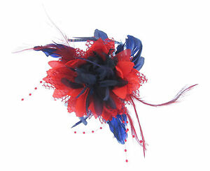 Fascinator in Royal blue and red on a comb Weddings Ladies Races
