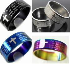 "50x ENGLISH Lord's Prayer Cross Stainless Steel Rings "" Our father in heave..."""