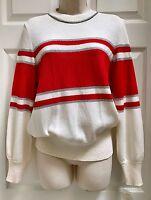 Toula Ming Wang Women's Long Sleeve Sweater Silver Red Ivory Usa Size 8