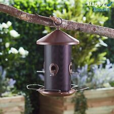 Happy Beaks Wild Garden Bird Seed Feeder Hanging Wood-Effect Lantern Food Tube