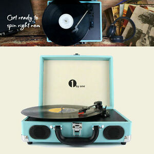 Vintage-Vinyl-Record-Player-Stereo-Turntable-W-Speaker-MP3-Turquoise-Belt-Drive