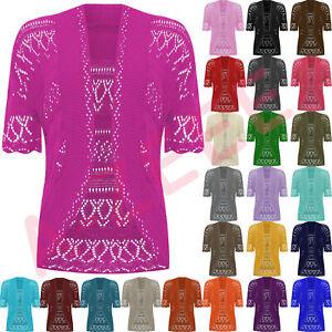 New-Womens-Crochet-Knitted-Bolero-Shrug-Open-Front-Cardigan-Top-Size-UK-12-30