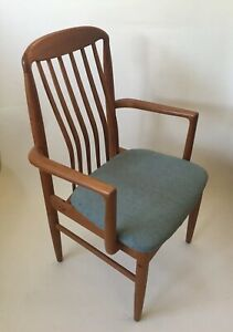 Two Teak Wood Dining Room End Chairs Mid Century Modern Ebay