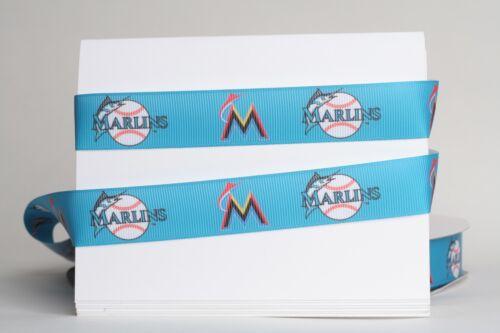 "MIAMI MARLINS BLUE BASEBALL 7//8/"" Grosgrain Ribbon 1 10 Yards SHIP FROM USA 5"