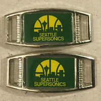 Pair Of Nba Seattle Supersonics Rectangle Shoelace Paracord Bracelet Charms