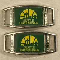 Pair Of Nba Seattle Supersonics Rectangle Shoelace Paracord Bracelet Charms