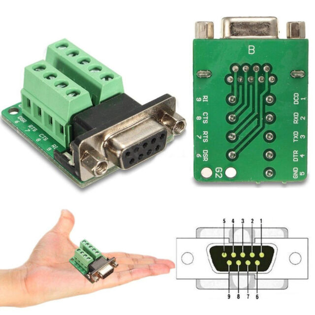 BG/_ KF/_ 9-pin Female Adapter RS-232 Serial Port Interface Breakout Board Con HK
