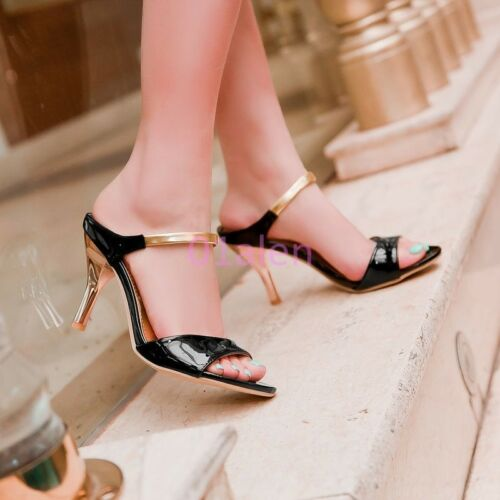 Womens Cute Party High Heels Mule Slides Open Toe Strap Stiletto Chic Shoes New