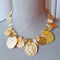 Kenneth Jay Lane Kjl Couture Gold Tone Enamel Stone Necklace Signed