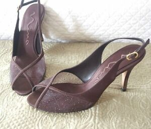 Women s Nina Peep Toe Satin Sparkly Heels-Brown-8-EUC-3 1 2