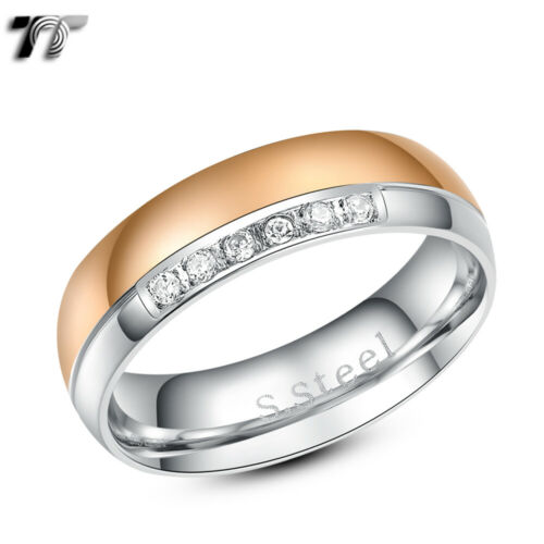 TT Two-Tone Rose Gold Clear CZ Stainless Steel Wedding Band Ring R205SZ
