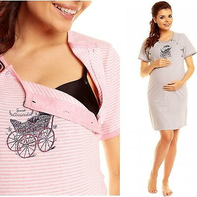 Zeta Ville - Women's Maternity Nursing Stripe Nightdress Baby Pram Gown - 386c