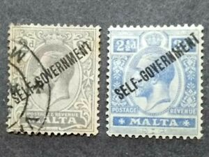 1922 Malta King George V Overprint Self-government On 2d & 2 1/2d - 2v Used & MH