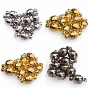 10Sets-Silver-Gold-Plated-Round-Ball-Magnetic-Clasps-Connectors-Findings-6mm-8mm