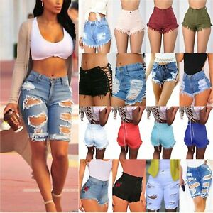Women-High-Waisted-Short-Mini-Jeans-Denim-Ripped-Summer-Casual-Shorts-Hot-Pants