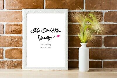 Personalised Kiss The Miss Goodbye Hen Party Print Accessories Bride To Be gift